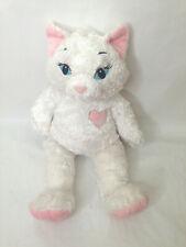 "Build a Bear White Sassy Cat Kitten with Heart Stuffed Plush Animal Toy 19"" Tall"