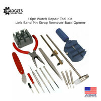 16pc Watch Repair Kit Band Pin Strap Link Remover Back Opener
