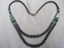 Hematite & Green Stone Bead Necklace - 18.5 inch