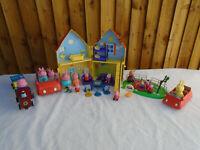 Peppa Pig Bundle House Train Cars Park & 13 Figures