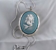 MERMAID Cameo LOCKET NECKLACE Wedgwood Blue color - 925 SILVER PLATED CHAIN
