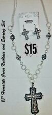 "27"" Hematite Cross Religious Necklace And Earring Set"