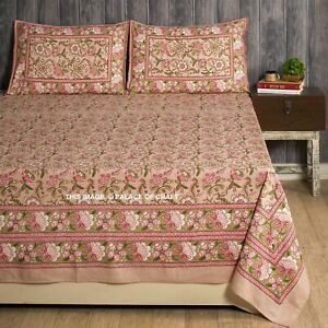"""Indian Hand Block Print Bedspread Bedding Bed Sheet with Pillows Cover 108""""x90"""""""