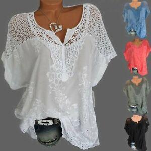 Damen Sommer Kurzarm Lose Blusen T Shirt Freizeit Baggy Bluse Hemd Tops Oberteil