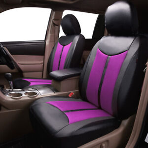 2 Car Seat Cover Leather Waterproof Universal Set Airbag Compatible Purple Black