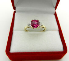 Real 10k Yellow Gold Pink Spinel Ring with Diamond Accent