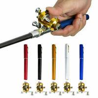 Mini Portable Pocket Fish Pen Shape Aluminum Alloy Fishing Rod Pole Reel Gifts