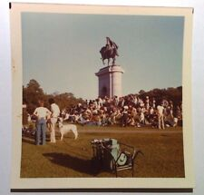 Vintage PHOTO Outdoor Festival Large White Dog & Old Style Electricity Generator
