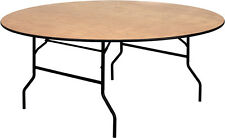 """(5 PACK) 72"""" Round Wood Folding Banquet Table Country Club Hotel Restaurant"""