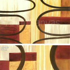 "38""x24"" CROWN ONE by MARIA LOBO CURVED BROWN LINES RED BEIGE BOX SHAPES CANVAS"