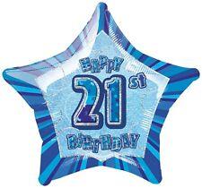 "20"" Happy 21st Birthday Blue Sparkle Star Foil Balloon"