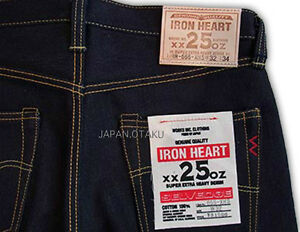 HEAVY WEIGHT IRON HEART JEANS 25oz JAPANESE BIKER SLIM STRAIGHT STRONG DENIM