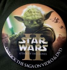 Star Wars II ATTACK OF THE DRONES YODA PROMO VIDEO DVD Button Pin
