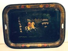 England Chippendale Large Hand Painted Black Horse Rider Tole Tray