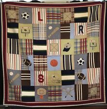 Pottery Barn Kids Boys Multi Sports Cord Cotton Reversible Quilt 86x86
