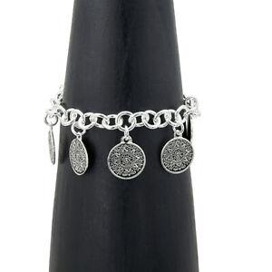 Artisan Silver Aztec Calendar Charm Bracelet Taxco Mexico