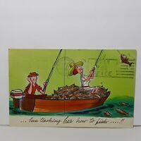 Vintage Comic Humor Postcard 1960s Fishing