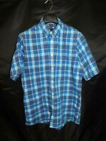 Nordstrom L Regular Fit Blue Purple Plaid Shirt Short Sleeve Button Down Cotton
