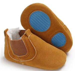 Baby Unisex Suede Warm-Lined Chukka Boots - Crib Shoes - Soft Sole