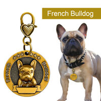 Personalised Dog Tags 3D French Bulldog Custom Dog Name ID Collar Tag Gold Round