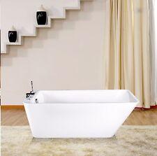 "Empava 67"" Freestanding Bathtub White Color Acrylic Soaking Spa Tub"