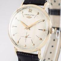 14k Yellow Gold Hamilton Men's Hand-Winding Watch w/ Black Leather Band