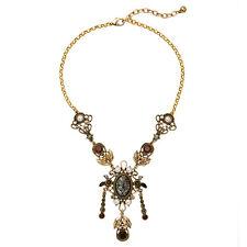 Collier MiLong Doré Pendantif Filigrane Perle Noir Boredeaux Tassel Vintage QT11