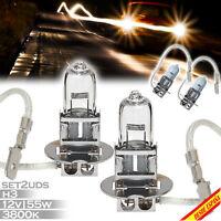 2X BOMBILLAS LAMPARA HALOGENA H3 LUZ AMARILLA 3800K 55W 12V CAR LAMP MOTO COCHE