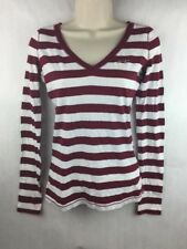 Hollister Women's Maroon & White Long Sleeve Top V Neck Size XS