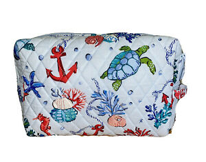 Vera Bradley Large Cosmetic ANCHORS AWEIGH Case Travel Bag Quilted Cotton