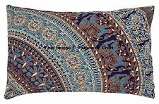 Elephant Mandala Pure Cotton Indian Handmade Cushion Cover Rectangle Pillow Case
