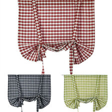Nordic Plaid Linen Blend Roman Curtains Kitchen Cafe Tier Door Valance Drapes