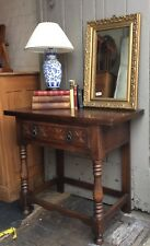 Vintage Oak Console Side Table With Single Drawer
