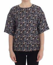 NWT $800 DOLCE & GABBANA Gray Gold Key Print Silk Blouse T-shirt IT38 / US4 / XS