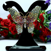 NATURAL HEATED FANCY COLOR SAPPHIRE BUTUERFLY BROOCH/PENDANT 925 STERLING SILVER