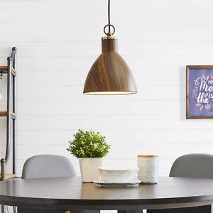 Southern Enterprises Kylie Wood Look Pendant Light, Midcentury Modern, Natural