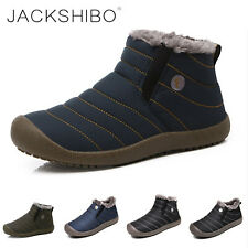 Men's Winter Warm Snow Boots Ski Fur Lined Ankle Boot Shoes Outdoor Waterproof