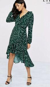 New Lipsy @ Next Size 6 Green White Polka Dot Wrap Ruffle Midi Dress Evening