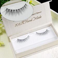 3D Luxurious Handmade Makeup Slender Cross Natural False Eyelashes Long Black