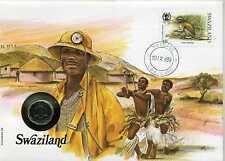 Numisbrief Swaziland swazilandia 1989 con 5 centavos 1986 y descripción ki1954