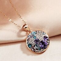 18K Rose Gold Filled Made With Swarovski Crystal Round Amethyst Necklace