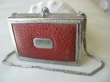 Antique Silver Leatherette Bar Chain Perfume Coin Holder Lipstick Compact EVANS
