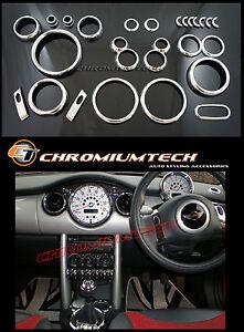 MK1 BMW MINI Cooper/S/ONE R50 R52 R53 Chrome Interior Dial Dashboard Kit 25pc.