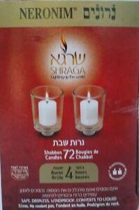 Neronim Candles 4 Hour Safe Dripless Shabbos Yom Tov Holiday Neriot Votive 72 PK