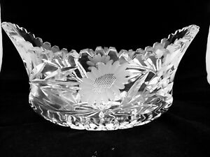 Stunning Vintage Lead Cut Crystal Trifle Fruit Boat shape  Bowl 2.2kg (8B)