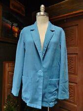 Womens Sky Blue Single Button Patch Pocket Light Weight Blazer Jacket Sz M