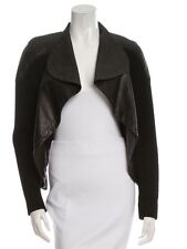 YIGAL AZROUEL Black Moto Quilted Leather Biker Jacket Wool Sweater Women's S
