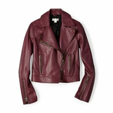 New Fossi Raisin Purple Lambskin Leather Moto biker Asymmetrical Jacket S M $448