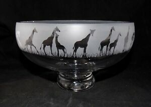 """New & Unique """"Giraffe"""" Glass Pedestal Bowl - Lovely Gift For Any Occasion"""