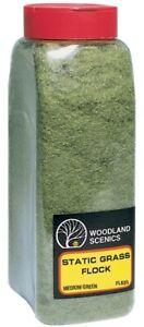 NEW Woodland Train Scenery Static Grass Flock Medium Green 32 oz FL635
